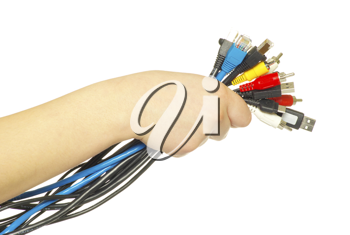 Royalty Free Photo of a Person Holding Computer Cables