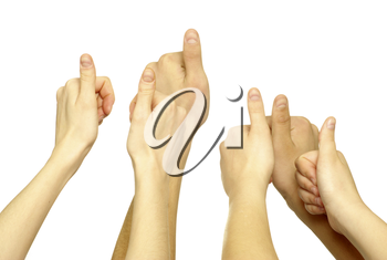 Many hand lifted up on white background