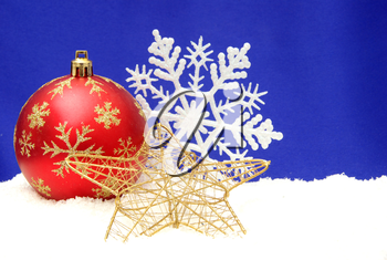 Christmas decoration over blue background