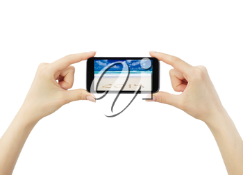 Hand holding big touchscreen smart phone, clipping path