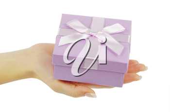 gift in hands isolated on white background