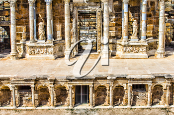 Ruins of theater in ancient Hierapolis, Turkey