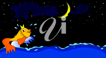 Royalty Free Clipart Image of a Fish in Water