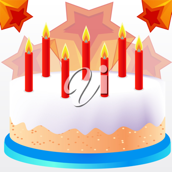 Royalty Free Clipart Image of a Cake With Candles and Stars Behind It