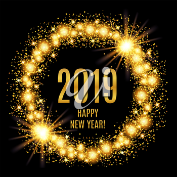 2019 Happy New Year glowing gold background. Vector illustration