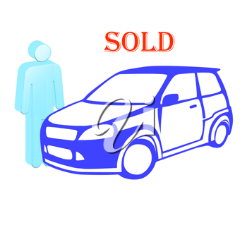 Royalty Free Clipart Image of a Car and a Person