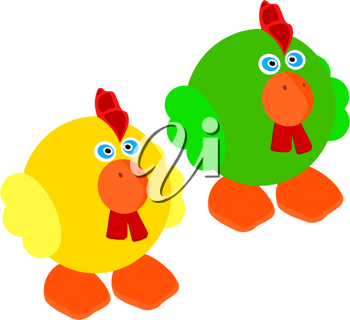 Royalty Free Clipart Image of Two Roosters