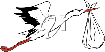 Royalty Free Clipart Image of a Stork