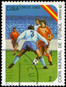 CUBA - CIRCA 1982: A post stamp printed in Cuba shows shows football, series devoted World Cup in Spain, circa 1982.