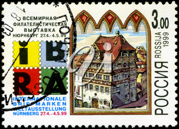 RUSSIA - CIRCA 1999: A stamp printed in Russia shows image of the dedicated to The  World Exhibition of postage stamps - International Philatelic Exhibition, held in Nuremberg, circa 1999.