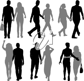 Set Silhouette man and woman walking hand in hand.