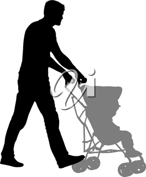 Silhouettes walkings father with baby strollers on white background.