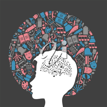 Royalty Free Clipart Image of a Person Thinking About Music and Art