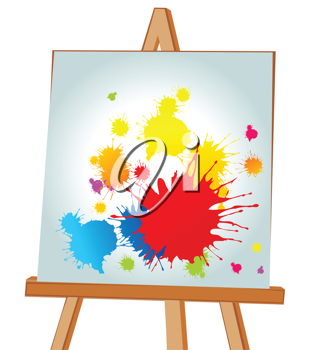 Royalty Free Clipart Image of a Picture on an Easel