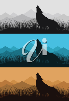 Royalty Free Clipart Image of Wolves Howling at the Mountains