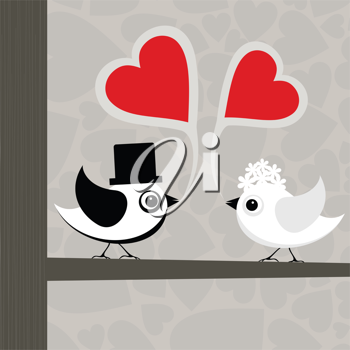 Birds love each other. A vector illustration