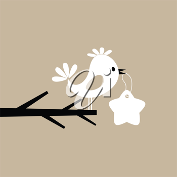 The bird holds the price list in a beak. A vector illustration
