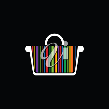 Basket with a rainbow a stroke inside on a black background. A vector illustration