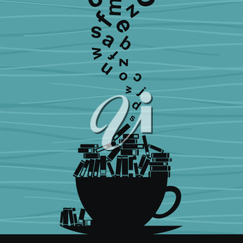 Books lay in a cup. A vector illustration