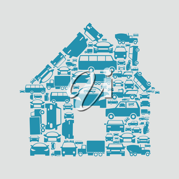 The house made of cars. A vector illustration