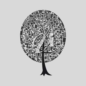 Tree on a theme a building. A vector illustration