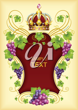 Royalty Free Clipart Image of a Grape Frame