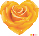 Royalty Free Clipart Image of a Yellow Rose Heart