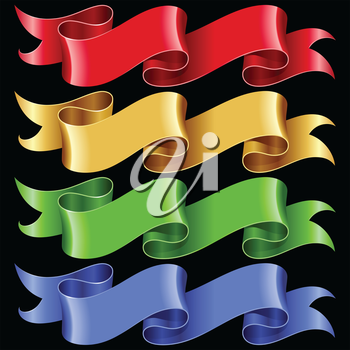 Vector ribbon frames set. Banners in the shape of speech bubble