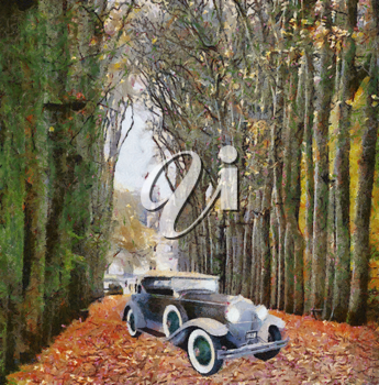 Royalty Free Photo of an Antique Car in a Forest