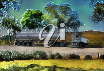 Royalty Free Photo of a Petrol Tanker Truck Illustration