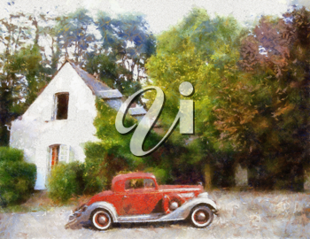 Royalty Free Photo of a Painting of a 1934 Buick Sports Coupe