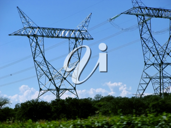 Royalty Free Photo of High Voltage Cable Towers in Countryside