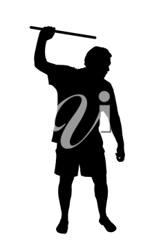 Silhouette of a man applying corporal punishment with cane