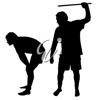 Silhouette of a man applying corporal punishment on teenage boy