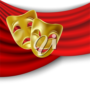 Royalty Free Clipart Image of Theatrical Masks on Red Drapes