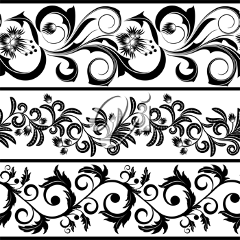 Royalty Free Clipart Image of Three Black and White Borders