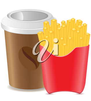 Royalty Free Clipart Image of a Coffee and Fries