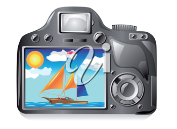 Royalty Free Clipart Image of a Camera