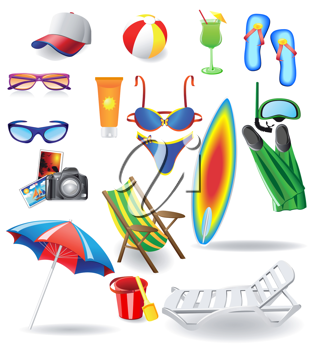 Royalty Free Clipart Image of a Beach Item Set