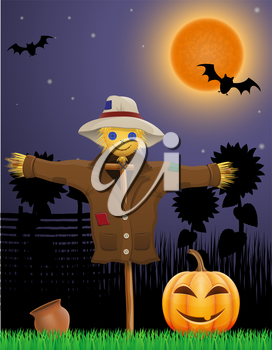 halloween pumpkin and scarecrow in the night sky vector illustration