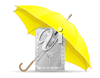 concept of protected and insured safe with money umbrella vector illustration isolated on white background