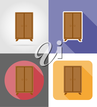 wardrobe furniture set flat icons vector illustration isolated on white background