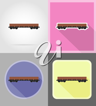 railway carriage train flat icons vector illustration isolated on background