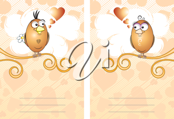 Royalty Free Clipart Image of a Love Bird Cards