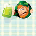 Cartoon Leprechaun with mug of green ale, illustrated vector background