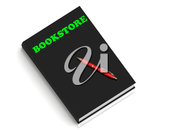 BOOKSTORE- inscription of green letters on black book on white background