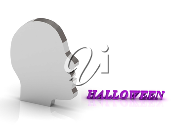 HALLOWEEN bright color letters and silver head mind on a white background