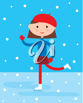 Royalty Free Clipart Image of a Girl Skating