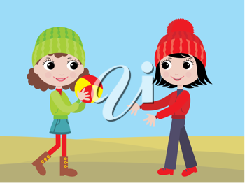Royalty Free Clipart Image of Little Girls Playing Ball
