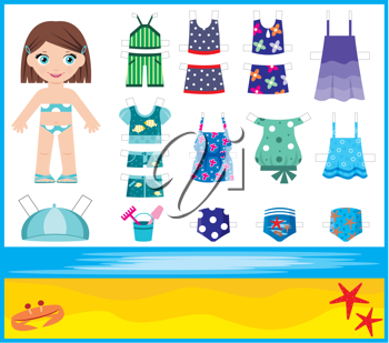 Royalty Free Clipart Image of a Paper Doll With a Set of Summer Clothes